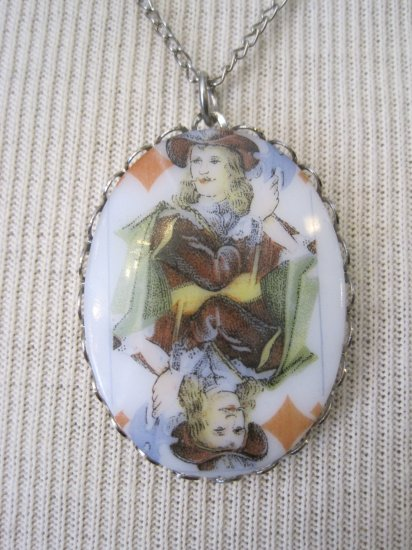 Jack of Diamonds Playing Card Cameo Pendant, Necklace
