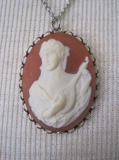 Burnt Orange Cameo with White Female Musician Pendant, Necklace