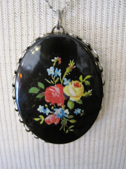 Black Cameo with Colored Flowers, Necklace
