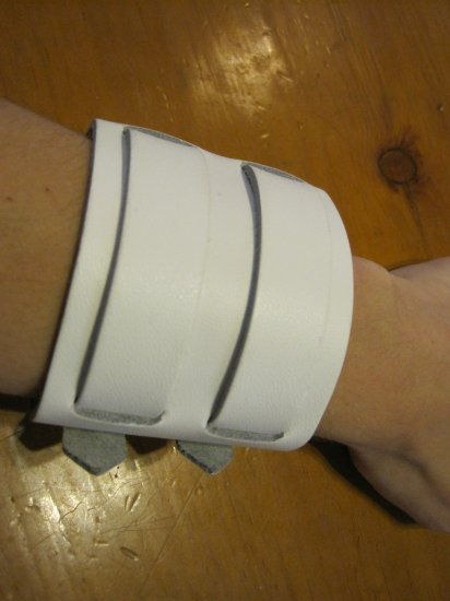 White Faux Leather Double Cuff Bracelet, Silver Buckle