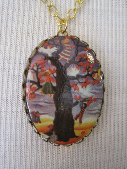 Vintage Image Children Climbing Tree Cameo Pendant, Necklace