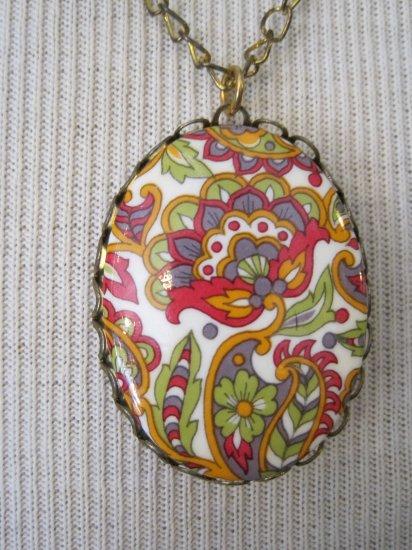 70's Design Print Cameo, Necklace