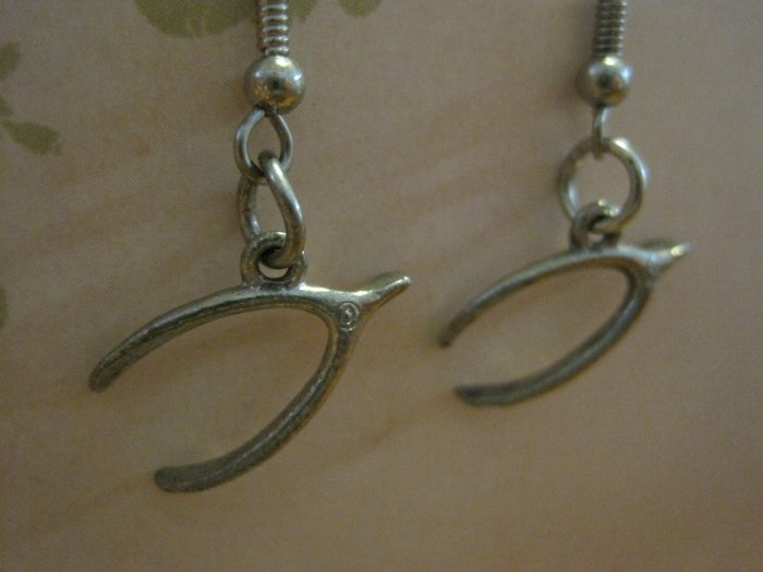 Silver Tone Colored Wish Bone Charm Earrings