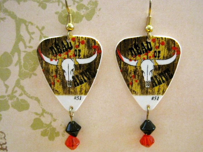 "Hand Made ""Dead or Alive"" Steer Skull Guitar Picks, with Black and Red Glass Beads, Earrings"