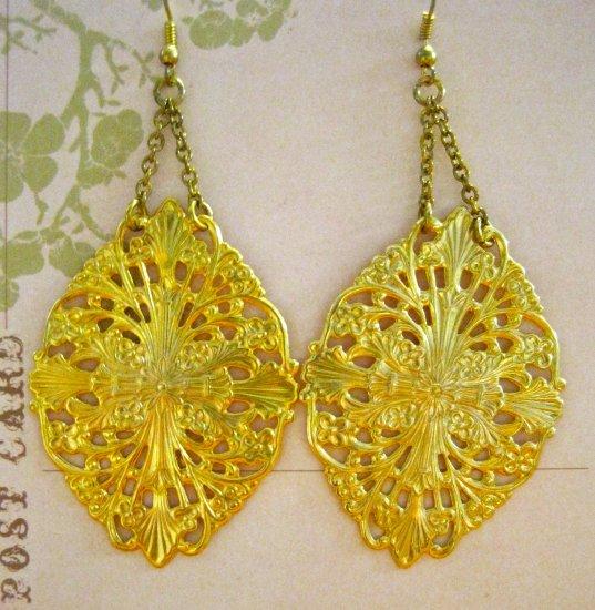 Beautiful Large Flat Gold Cross Filigrees on Gold Chain, Earrings