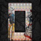 Single Switch Plate Cover, Flat, Day of the Dead Couple with Checkered Background