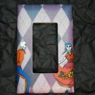 Single Switch Plate Cover, Flat, Day of the Dead Couple with Diamond Shaped Background