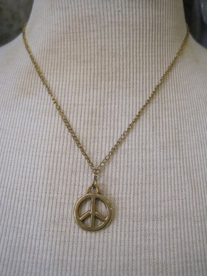 Gold Peace Sign Charm, Necklace