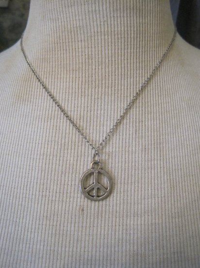 Silver Peace Sign Charm, Necklace