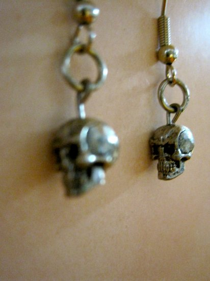 Itty Bitty Silver Tone Skull Charm Earrings