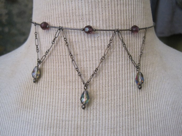 Purple Crystal Drops on Silver Beaded Choker Necklace