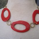 Retro Red Plastic Circles with Gold Accents, Necklace