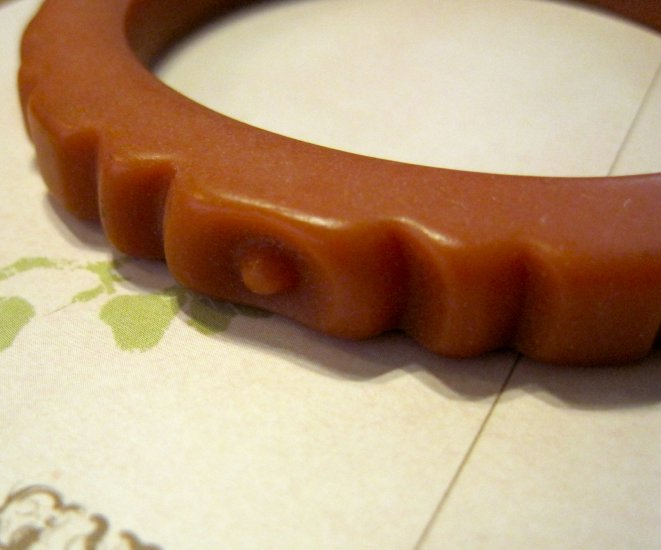 Vintage Bakelite Bracelet, Burnt Orange Color, Hand Carved Design