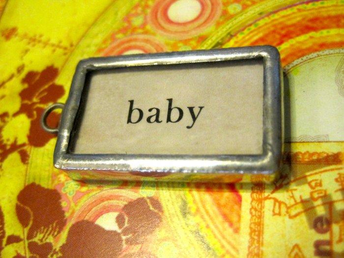"""Baby"" Flashcard Charm, Necklace Pendant"