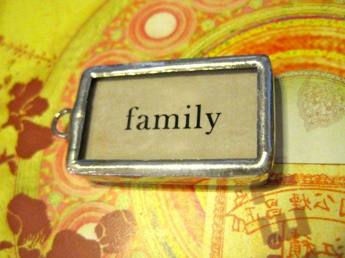 """Family"" Flashcard Charm, Necklace Pendant"