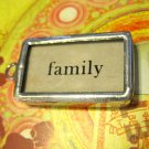 """Family"" Flashcard Charm, Necklace Pendant"