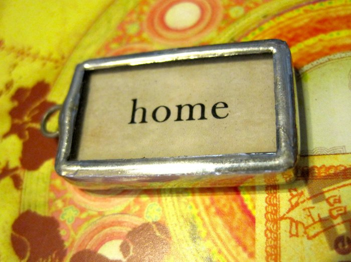 """Home"" Flashcard Charm, Necklace Pendant"