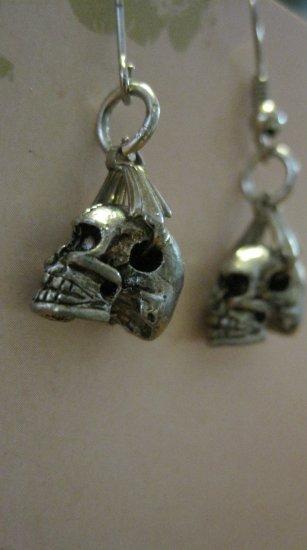 Medium Sized Silver Tone Colored Skull Charm Earrings