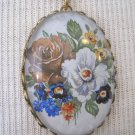 Vintage Flower Print Cameo, Gold Chain Necklace