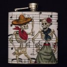 Stainless Steel Flask - 6oz., Day of the Dead Couple with Sheet Music Background