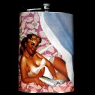 Stainless Steel Flask - 8oz., Pin Up Girl with Purple and White Background