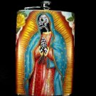 Stainless Steel Flask - 8oz., Day of the Dead Skeleton Our Lady of Guadalupe