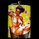 Stainless Steel Flask - 8oz., Pin Up Girl in Bathtub with Yellow Background