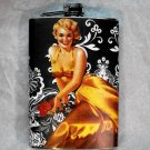 Stainless Steel Flask - 8oz., Pin Up Girl in Yellow with Black and White Background