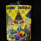 "Stainless Steel Flask - 8oz., ""Happy Birthday"" Day of the Dead Skeletons"