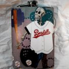 Stainless Steel Flask - 8oz., Day of the Dead Skeleton Baseball Player