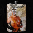 Stainless Steel Flask - 8oz., Mexican Wrestler with Flower Background