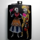 Stainless Steel Flask - 8oz., Day of the Dead Couple Holding Hearts