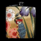 Stainless Steel Flask - 6oz., Owl with Colorful Flower Background