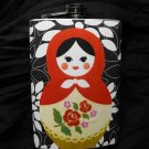 Stainless Steel Flask - 8oz., Russian Stacking Doll Picture