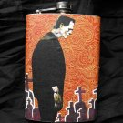 Stainless Steel Flask - 8oz., Frankenstein with Graveyard Background