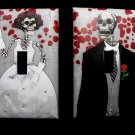 Set Single Switch Plate Cover, Day of the Dead Skeleton Bride and Groom