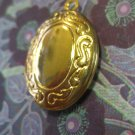 Small Gold Colored Oval Locket, Necklace Pendant