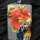 Stainless Steel Flask - 8oz., Day of the Dead Couple with Flower Background