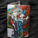 Stainless Steel Flask - 8oz., Day of the Dead Couple with Giant Flower Background