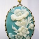 Oval Cameo Necklace, Blue Background with White Flowers