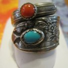 Retro Spoon Ring, Blue and Red Stones, Size 11.5
