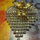 Gold Angel on Rhinestone Heart, Pin/Brooch
