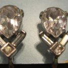 Vintage Rhinestone Drop Clip On Earrings, Great Condition