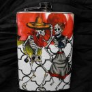 Stainless Steel Flask - 8oz., Day of the Dead Skeleton Couple, Rose on Black and White