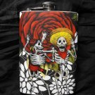 Stainless Steel Flask - 8oz., Day of the Dead Skeleton Couple, Rose and White Flowers