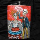 """Stainless Steel Flask - 8oz., Day of the Dead Skeleton Couple, """"Love"""", Red Rose Background"""