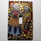 Single Switch Plate Cover, Day of the Dead Couple with Purple and Yellow Background