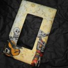 Single Switch Plate Cover, Flat, Day of the Dead Skeletons with Gold Colored Background