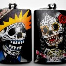 Set of Two Stainless Steel Flask - 8oz., Day of the Dead Skeleton Guy and Girl