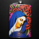 Stainless Steel Flask - 8oz., Mary with Flower Background
